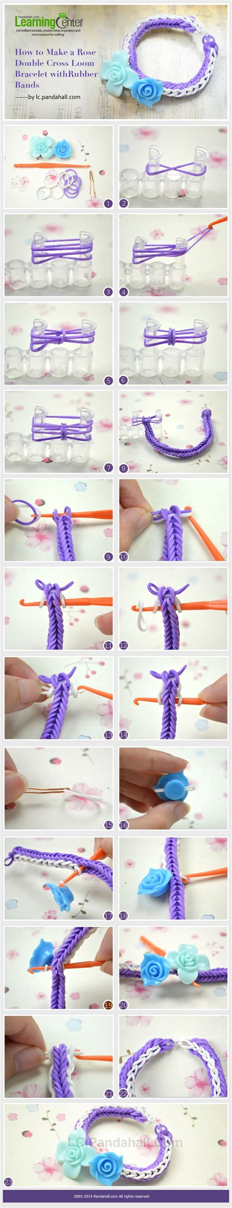 drumline tutorial how to make a rose double cross loom bracelet with rubber