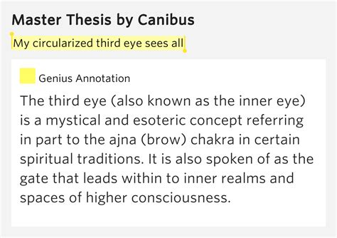master thesis canibus my circularized third eye sees all master thesis by canibus