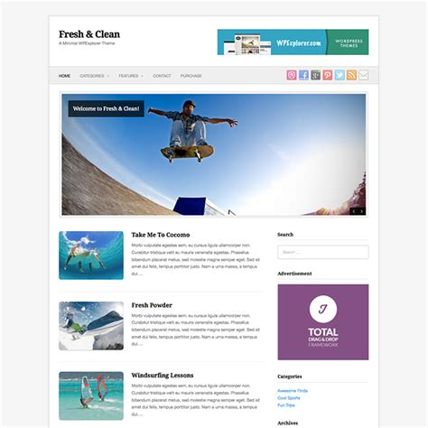 fresh clean free minimal wordpress theme