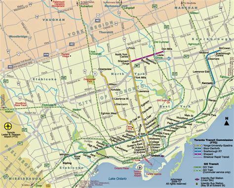 map of toronto toronto subway and rt maps free printable maps