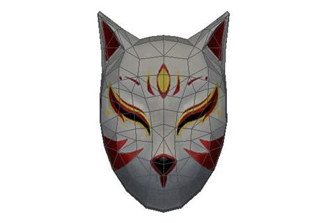Kitsune Mask Papercraft - papercraftsquare new paper craft size