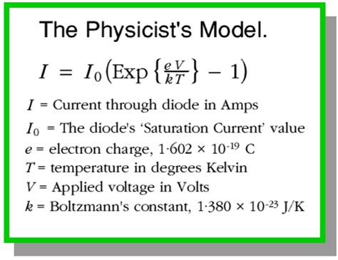 define diode current equation current vs voltage properties of a diode