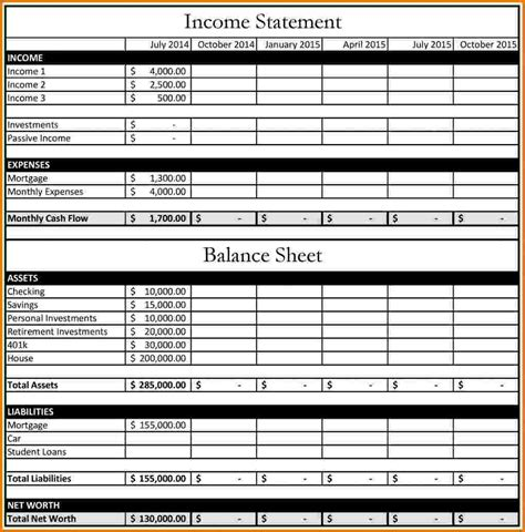 Sheet Financial Statements Mba by 12 Income Statement Balance Sheet Financial Statement Form