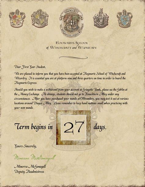 harry potter hogwarts acceptance letter countdown