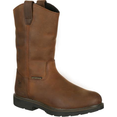 comfortable work boots steel toe georgia boot comfort steel toe waterproof pull on work boot