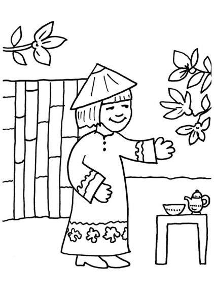 Coloriage 224 Imprimer Enfant Chinois Maison Coloriage Dessin Maison Chinoise L