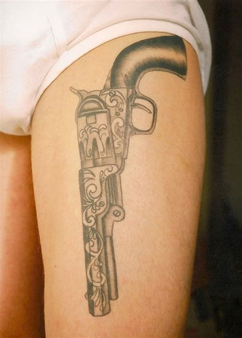 gun thigh tattoos 58 most amazing pistol tattoos designs