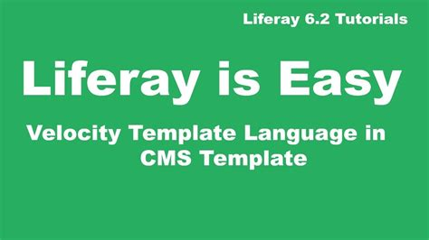 liferay templates free liferay tutorial 32 velocity template language vtl
