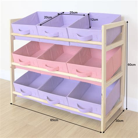 pink canvas storage drawers purple pink 3 tier wood toy unit 9 canvas boxes drawers