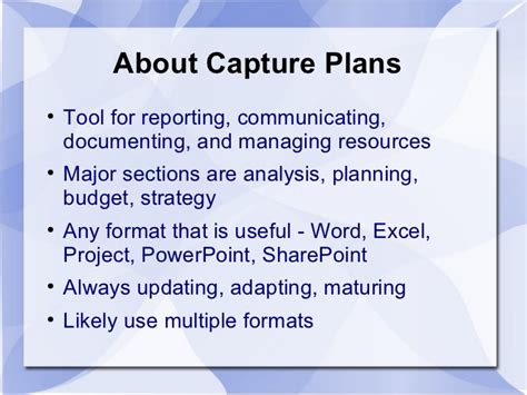 Capture Plan Template capture management overview