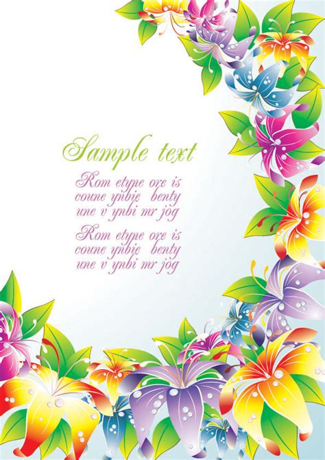colorful card background design elements free vector in colorful flower card background vector free vector 4vector