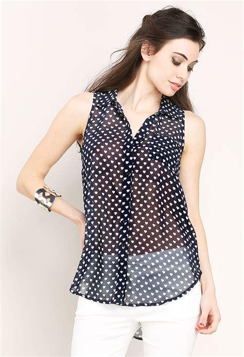 heart pattern blouse heart pattern sleeveless blouse shop sale at papaya clothing