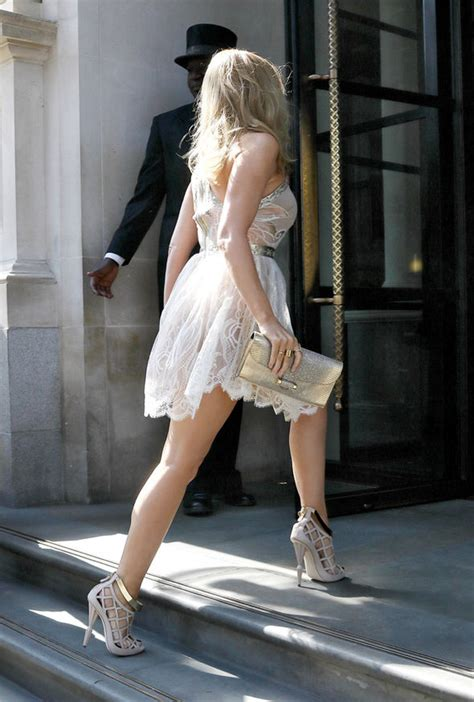 Famous Stairs kylie minogue wears sexy sheer mini dress while out in