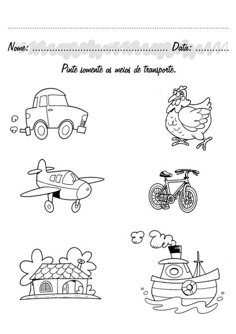 Atividades pré-escolar Meios de Transporte - Fichas e