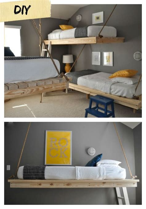 Suspended Bunk Beds I These 2x4 Floating Beds What An Inexpensive And Cool Way To Add Beds To A Bunk