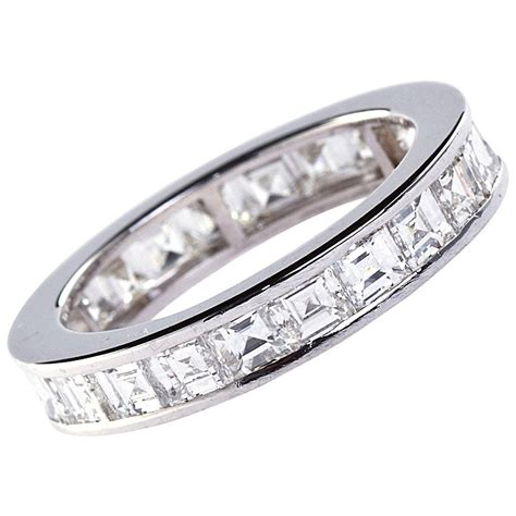 cut square white gold eternity band ring