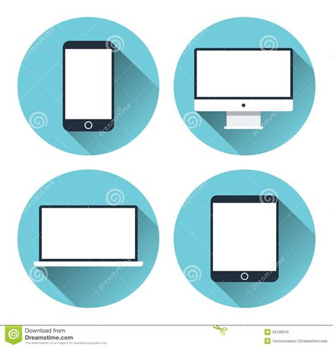 design icon for desktop modern electronic devices icon set stock vector image