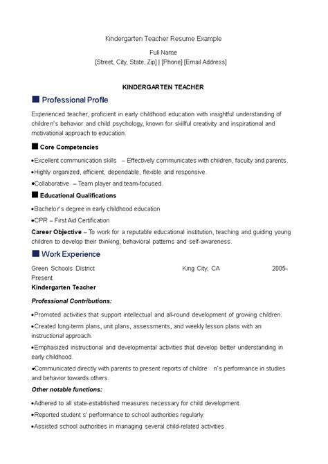 Kindergarten Teacher Resume | Templates at