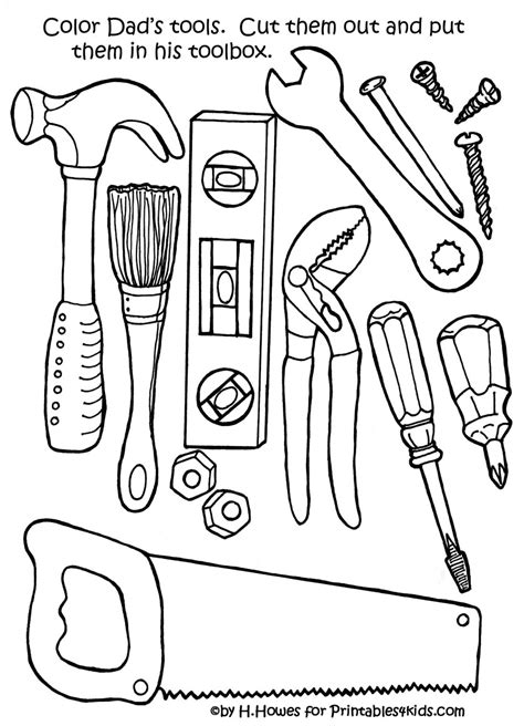 tools coloring pages preschool dishwasher father s day crafts