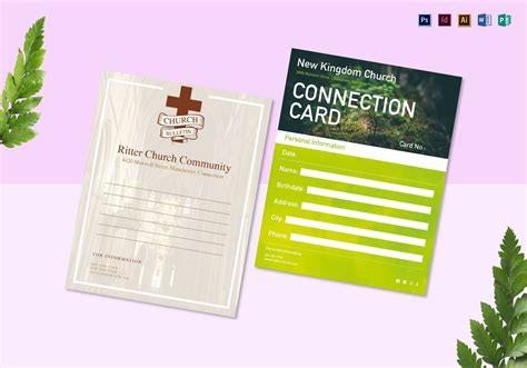 Church Bulletin And Connect Card Flyer Design Template In Psd Word Publisher Illustrator Church Bulletin Templates Indesign
