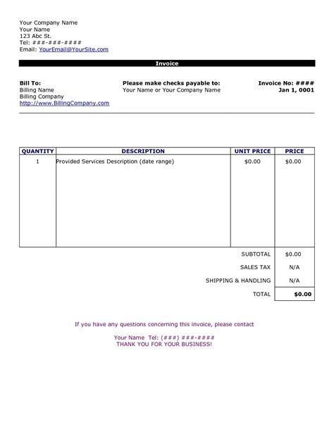 simple invoice template free to do list