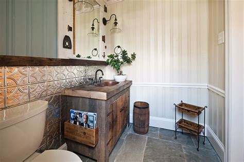 Metal Wainscoting Ideas by Cosa Design Rustic Bathroom With Tin Wainscoting Http