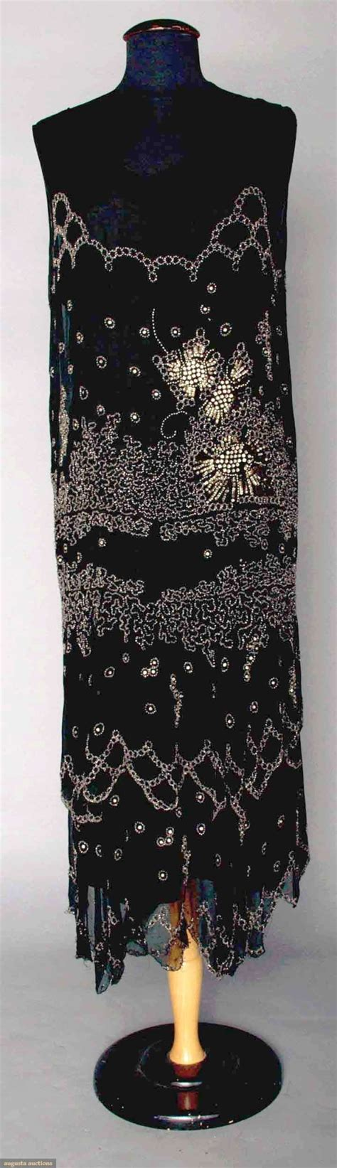 sequined abstract pattern dress crystal beaded dress early 1920s black silk chiffon