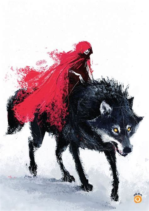 little red riding hood and wolf illustration alternate version of little red riding hood i prefer this