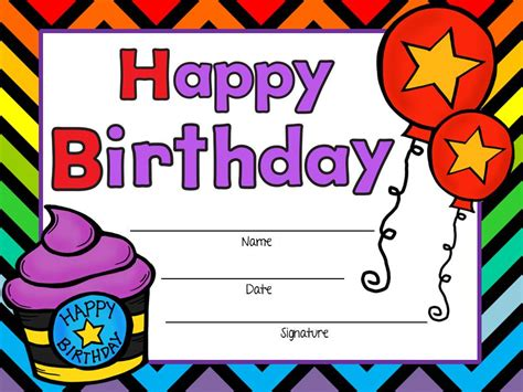 School Birthday Card Template by Free Birthday Certificates Boy And Tpt Pickled