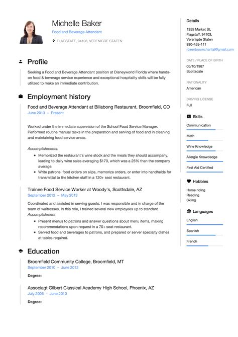 Resume F B by 7 Food And Beverage Attendant Resume Sles