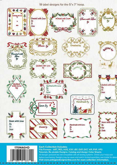 printable christmas quilt labels christmas quilt labels back anita goodesign