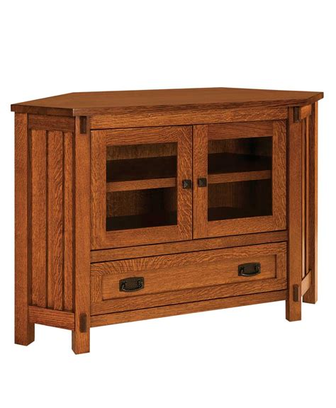 Corner Tv Stand With Drawers by Mission 2 Door 1 Drawer Corner Tv Stand Amish Direct
