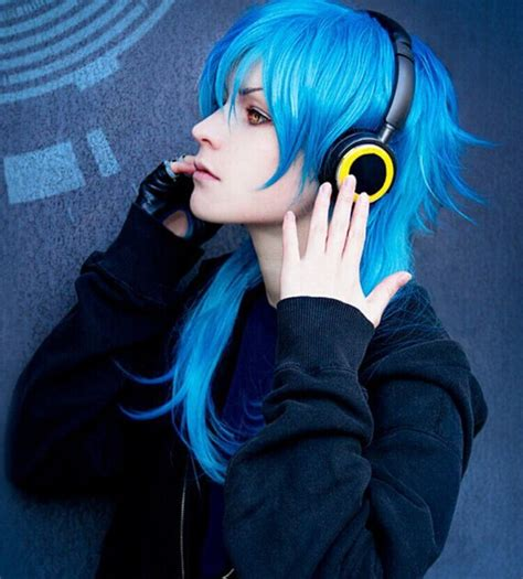 Anime Hairstyles Cosplay   60cm fashion mens hairstyle blue mixed anime cosplay