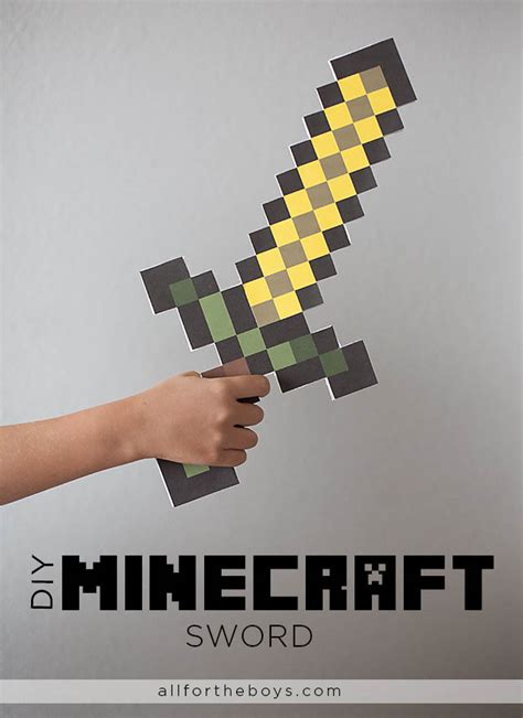 How To Make A Minecraft Paper Sword - all for the boys diy minecraft sword free printable in