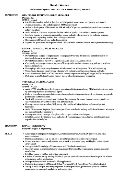 resume sles for technical support managers technical sales manager resume sles velvet