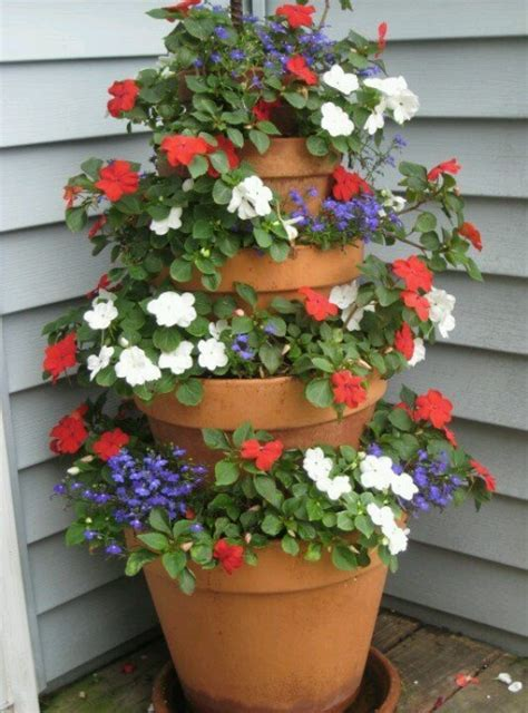 Stacked Planters by Stacking Planters For Height Container Gardening