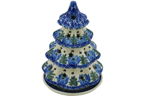 tree pattern candle holder polish pottery 6 inch christmas tree candle holder