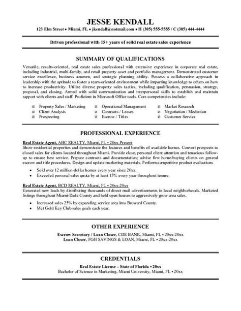 real estate resume exle tammys resume