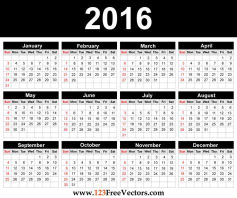 2016 Calendar Printable With Holidays Free Printable 2016 Calendar Template Free Vector