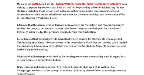 College Housing Letter Petition Update 183 Tell Barnard Admin You Care About Housing Insecure Students 183 Change Org