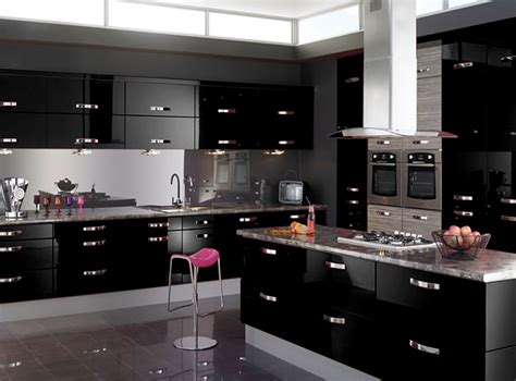 Black Gloss Kitchen Cabinets Black Gloss Kitchen Cupboard Modern Kitchen Glubdubs