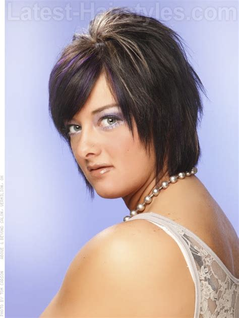 crazy shaggy chin length bob short and choppy shag haircut with fun pops of color