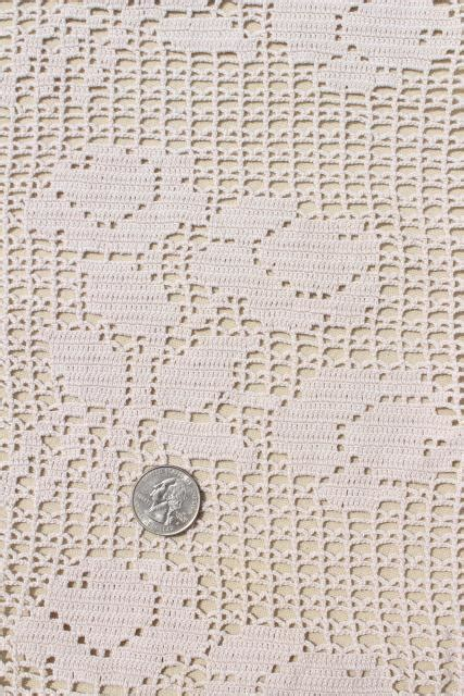 pattern of vintage crochet lace in an ecru color vintage crocheted lace tablecloth handmade filet crochet