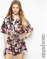 kimono playsuit pattern asos petite floral playsuit with button front and tie back