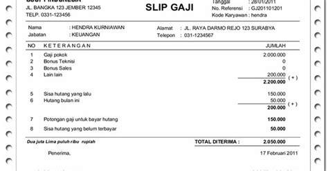 kumpulan contoh slip gaji karyawan pegawai contoh slip gaji format contoh o