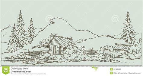 Rustic Mountain Cabin Cottage Plans vector drawing ancient rural landscape stock vector