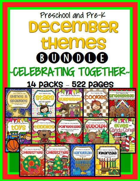 christmas themes for pre k december curriculum themes bundle for preschool and pre k