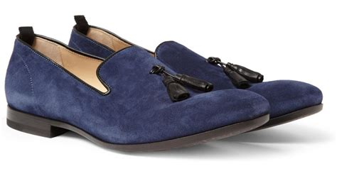 blue suede tassel loafer lyst mcqueen suede tassel loafers in blue for