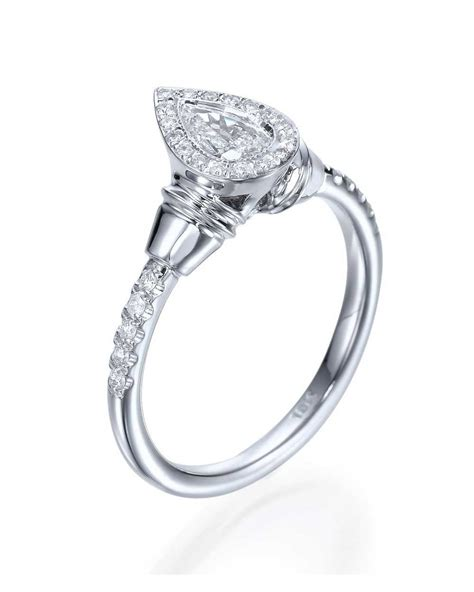 halo pear shaped antique vintage engagement ring