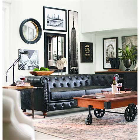 home decoration collection home decorators collection gordon black leather sofa 0849400700 the home depot